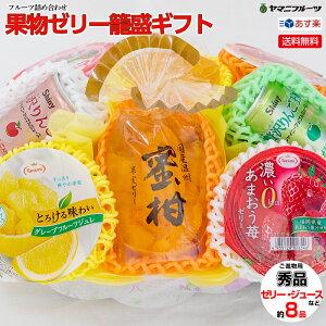 [ご進物用] 果物ゼリー籠盛ギフトD 袋入り果物ゼリー・カップゼリー・缶ジュースなど詰め合わせ【送料無料/あす楽対応/のし対応】[フルーツゼリー かご盛り合わせ お取り寄せ お供え物