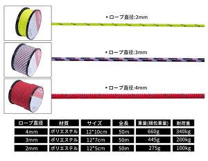 パラコードSoomloomガイロープテント用ロープ2mm3mm4mm反射材付き張り綱全長50mロープ直径4mmボビン巻型DIY編む用キャンプサバイバルアウトドア