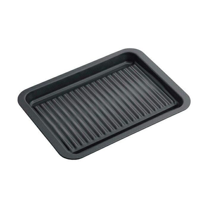 【安心の日本製】グリルdeクック カリふわっトースターパン 38293溝に入れた水が蒸発してカリふわのトーストが焼きあがります!焼き魚用のプレートとしても使えます幅27×奥行20cm
