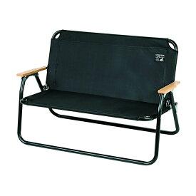 キャプテンスタッグ(UC-1660)CSブラックラベル アルミ背付ベンチ ブラック 黒丈夫で軽量なアルミ製二人用折りたたみ椅子ロースタイルチェア アウトドア キャプスタ