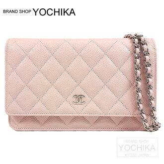 香奈兒香奈兒菱格紋鏈挎包光粉紅色錢包魚子醬皮膚的 A33814 新 (香奈兒菱格紋錢包鏈袋光寶貝粉紅色 Caviarskin A33814) #yochika