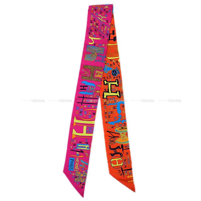 """【ご褒美に★】HERMES エルメス ツイリー スカーフ """"1001H"""" オレンジXフューシャXブルー シルク100% 新品同様【中古】 ([Pre-loved]Twilly Scarf """"1001H"""" Orange/Fuchsia/Bleu[Near mint])【あす楽対応】【楽ギフ_包装】#yochika"""
