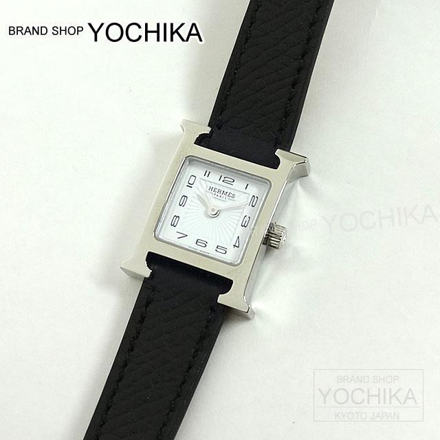 """【ご褒美に★】HERMES エルメス レディース 腕時計 Hウォッチ ミニ """"HH1.110"""" 黒(ブラック) エプソン シルバー金具 新品 (HERMES Lady's Watch H Watch Mini """"HH1.110"""" Noir Epsom SHW[Brand New][Authentic])【あす楽対応】#yochika"""