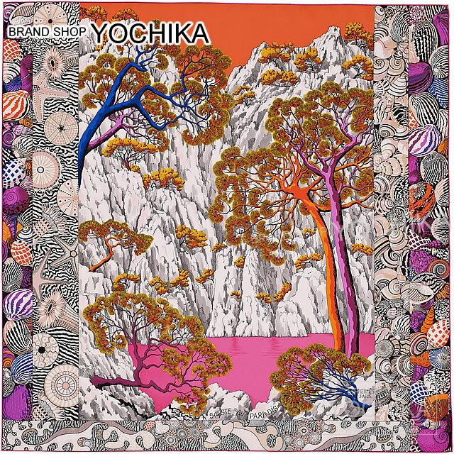 """【値下げ!】【新作続々入荷中★】HERMES エルメス スカーフ カレ90 """"天国のシエスタ"""" オレンジXローズヴィフXヴィオレ 新品未使用 (Scalf Carre 90 """"Sieste au Paradis"""" Orange/Rose vif/Viollet)【あす楽対応】#yochika"""