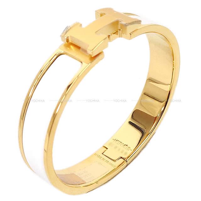 """【父の日ギフト★】HERMES エルメス ブレスレット バングル """"クリック アッシュ"""" PM 白(ホワイト) ゴールドプレーテッド 新品 (HERMES Bracelet Bangle """"Clic H"""" PM Blanc(White) Gold plated[Brand new][Authentic])【あす楽対応】【楽ギフ_包装】#yochika"""