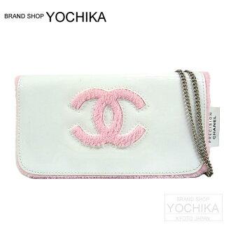 CHANEL VIP Novelty Mini chain shoulder bag White/Pink