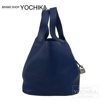 HERMES愛馬仕手提包微微舌頭鎖頭22 MM藍色藍寶石(burusafiru)toriyonshiruba金屬零件新貨(Hermes Bag Picotin Lock 22 MM Blue Saphir Taurillon Clemence)#yochika)