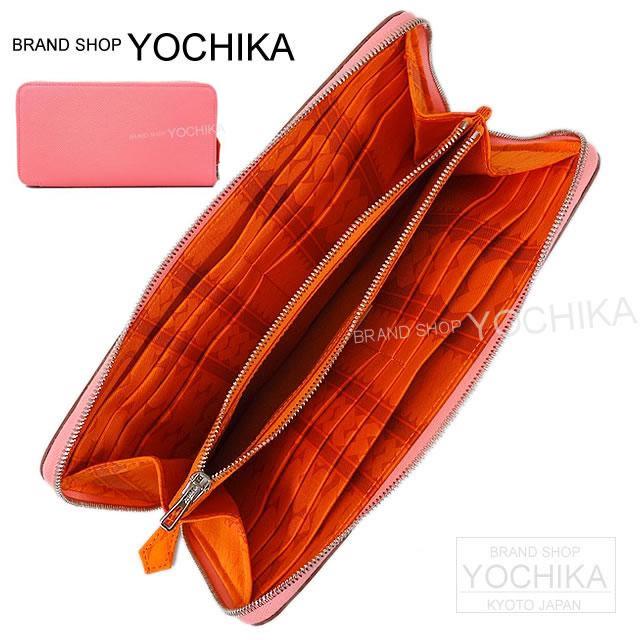 【ご褒美に★】HERMES エルメス 長財布 アザップ シルクイン ローズコンフェッティ×オレンジ エプソンXシルク 新品同様【中古】 ([Pre-loved]HERMES Wallet Azapp Silk'in Rose Confetti/Orange [Near mint][Authentic])【あす楽対応】#よちか