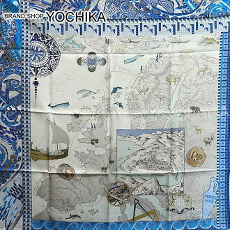 "HERMES Hermes scarf scarves 90 ""the voyage of PYTHEAS"" cobalt X Lagon X grey silk 100% brand new (HERMES Scarf Carre 90 ""La voyage de pytheas"" Cobalt/Lagon/Gray Silk100% [Brand New], [Authentic]) # I'm Chika"