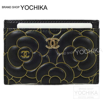 CHANEL Chanel Camellia embossed card case Black X Gold lambskin A82286 brand new (the Case Black/Gold Lamb Skin CHANEL Camelia Embossing Card A82286) #yochika