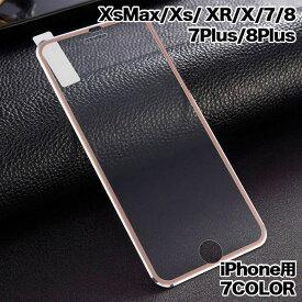 保護フィルム ガラス フィルム iPhone8 iPhone7 ラウンドエッジ アルミニウム合金 iPhone6/7/8 Plus ガラス フィルム 全面保護 アイフォーン 6/7/8 Plus 7カラー 3D構造 強化ガラス フィルム 送料無料