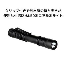 LEDライト 懐中電灯 LED ペンライト 高輝度 軽量 小型 防水 明るい 防災 防犯 用品 アウトドア キャンプ クリップ付き 120lm ハンディライト 送料無料