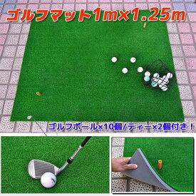 ゴルフ練習マット/スイングマットゴルフボール&ティー付 ショットマット【特大サイズ1.25m×1m】1.25