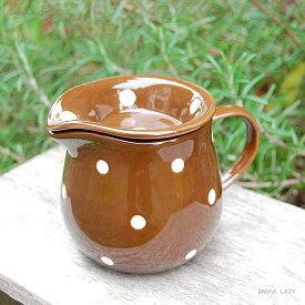 「ドットテーブルウェア Choco Color クリーマー」 ティー ドット カフェ ミルク カフェツール ブラウン 陶器