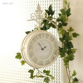 「SPICE OLD STREET 壁掛け両面時計 ホワイト Lサイズ」 時計 クロック アンティーク オールドストリート 回転 両面時計 インテリア 生活雑貨 新生活