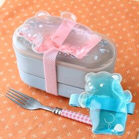 【1個】ひえクマバンド付1個 日本製 お弁当箱 保冷剤 バンド ピンク ブルー かわいい クマ 便利 お弁当 冷凍 繰り返し使える