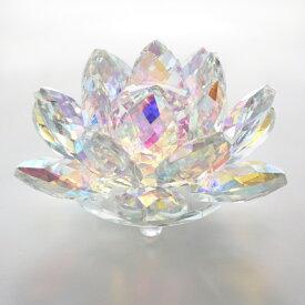 クリスタルオブジェ ロータス Lサイズ 蓮 置物 硝子 ガラス ディスプレイ