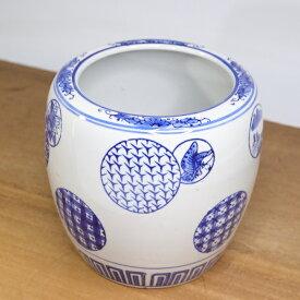 水鉢 火鉢 鉢カバー 丸紋 深型 プランターカバー 睡蓮鉢 メダカ鉢 金魚鉢 陶器 めだか鉢 鉢 陶器 和モダン 和風 観葉植物