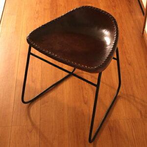 本革スツール レザースツール 本革椅子 アイアン アンティーク リビングチェアー 玄関椅子 いす チェア イス おしゃれ シンプル スタイリッシュ モダン レトロチェア 本革張り レザーチェア