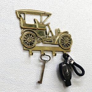 イタリア製 真鍮 車 クラシックカー キーフック ゴールド 金色 鍵掛け 壁掛け 収納 小物掛け ディスプレイ