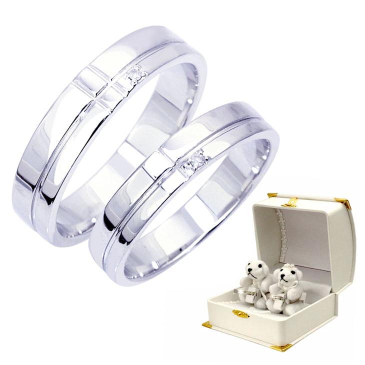 ペアリング 刻印 無料 ダイヤモンド マリッジベア ぬいぐるみ付 ダイヤモンド エタニティー クロス ペア リング バレンタイン ギフト