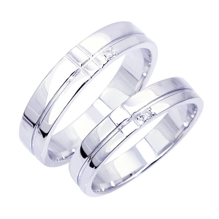 ペアリング ダイヤモンド 1ピース ダイヤ ライン入り ペア リング シルバー925 カップル 指輪 刻印対象商品