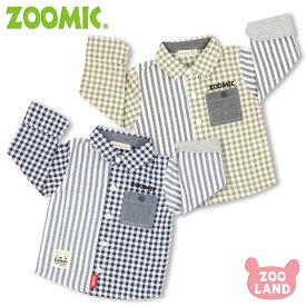 [メール便送料無料]子供服<トップス 長袖 前開シャツ>ZMコンビオーバーシャツ(80-120cm)【ZOOMIC】