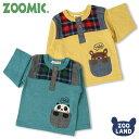[メール便送料無料]<トップス 長袖>ZOOMIC 格子切替ポケTシャツ(80-120cm)【ZOOMIC】zoomic ズーミック くま クマ …