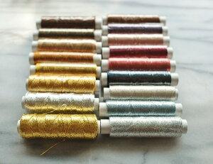 【送料無料】手縫い糸/3本撚り刺繍糸 17色セット /糸かけ曼荼羅 金銀 タッセル ハンドクラフト クリスマス ハロウィン