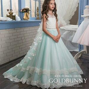 子供ドレス ミントの優しい色合いにレース飾りと蝶々マントが可愛い フラワーガール 七五三 チュールスカート イベント パーティードレス 結婚式 発表会 演奏会音楽会