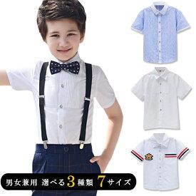 Yシャツ 半袖ブラウス 男の子 フォーマル スーツ ホワイト ブルー ストライプ 男の子 ワイシャツ 子供 シャツ 子供 スーツ フォーマルシャツ 男の子 スーツ 男女兼用 ユニセックス