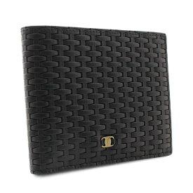 【中古】Salvatore Ferragamo サルヴァトーレフェラガモ ロゴ 編み込み 二つ折り財布 レディース ブラック レザー 22 6075