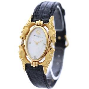 【中古】Carrera y Carrera カレライカレラ カバロス 7Pダイヤ 革ベルト 腕時計 レディース クオーツ ホワイトシェル文字盤 ゴールド ブラック