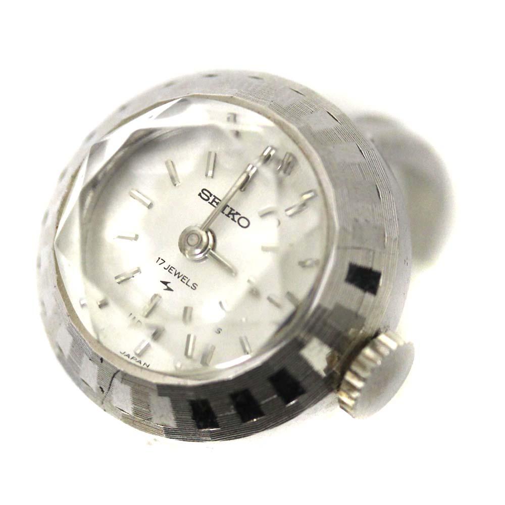 【中古】SEIKO セイコー リングウォッチ カットガラス アンティーク ヴィンテージ 腕時計 ユニセックス 手巻き シルバー文字盤 シルバー 10-0630