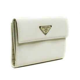 860f946180b0 【中古】PRADA プラダ サフィアーノ 三角ロゴ 二つ折り財布 レディース BIANCO/ホワイト レザー