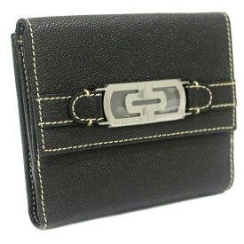 【中古】【未使用品】BVLGARI ブルガリ ロゴ金具 Wホック 二つ折り財布 ユニセックス ブラック レザー