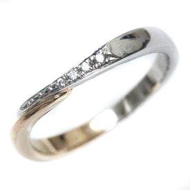 【中古】4℃ ヨンドシー K18/Pt950 ダイヤリング リング・指輪 レディース 11.5号 コンビ K18イエローゴールド Pt950プラチナ【新品仕上げ済み】