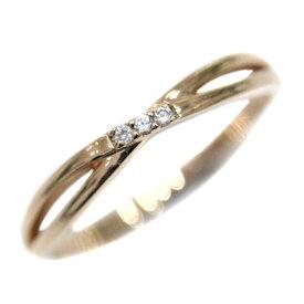 【中古】4℃ ヨンドシー ラインストーン リング・指輪 レディース 12号 ゴールド K10ピンクゴールド ジュエリー【新品仕上げ済み】