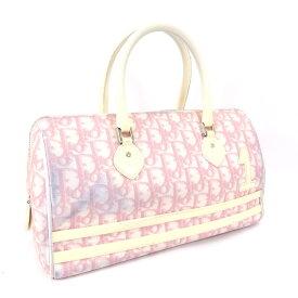【中古】Christian Dior クリスチャンディオール トロッター ボストンバッグ レディース ピンク ホワイト PVCコーティングキャンバス