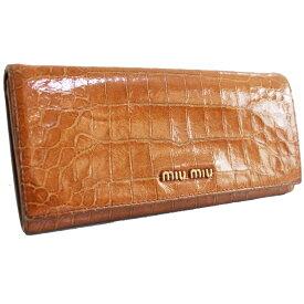 【中古】MIUMIU ミュウミュウ クロコ調 二つ折り ロゴ 長財布 レディース ブラウン 型押しレザー PVC 5M1109