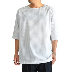 LEMAIRE ルメール コットンポプリン ストライプ Tシャツ (メンズ)