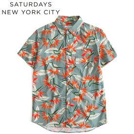 【SALE 30%OFF】Saturdays NYC サタデーズ ニューヨークシティ パラダイス柄 アロハシャツ 半袖シャツ M11830EQ03 (メンズ)
