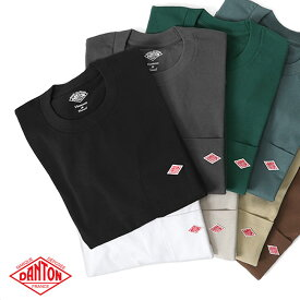 DANTON ダントン 胸ポケット ロンT JD-9077 長袖Tシャツ (メンズ レディース)