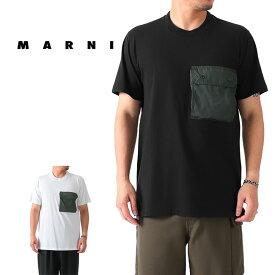 MARNI マルニ ナイロンポケット Tシャツ HUMU0150Q0 S22763 切り返し 半袖Tシャツ メンズ