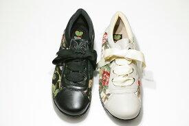 ゴールデンフット 婦人靴 8607 4E 花柄 ウォーキングシューズ ラテックスソール クッション性抜群!