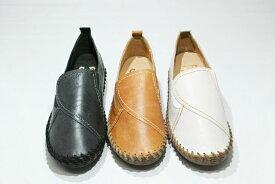ゴールデンフット 革 婦人靴 733 サイドゴムスリッポン ふわふわクッション 脱ぎ履きらくらく 3E フラットソール