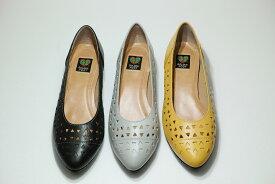 ゴールデンフット 婦人靴 5061 パンチング パンプス ローヒール 3E