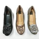 【ポイント10倍 4/16 1:59まで】婦人靴 フラワーコサージュ カジュアルシューズ ふわふわクッション 履きやすい ゴ…