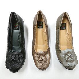 婦人靴 フラワーコサージュ カジュアルシューズ ふわふわクッション 履きやすい ゴールデンフット 6026