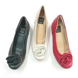 ゴールデンフット 婦人靴 6358 フラワーコサージュカジュアルシューズ